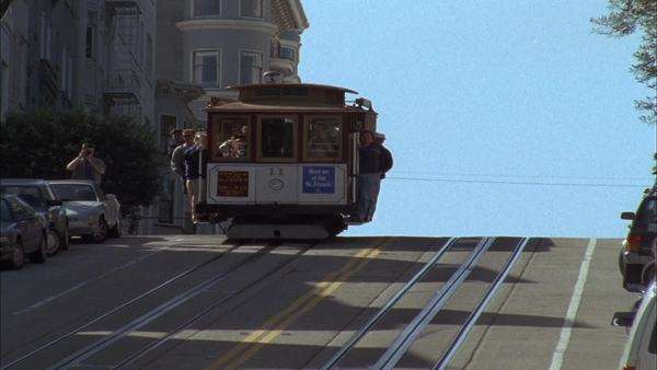 A cable car travels over a hill. Royalty-free stock video