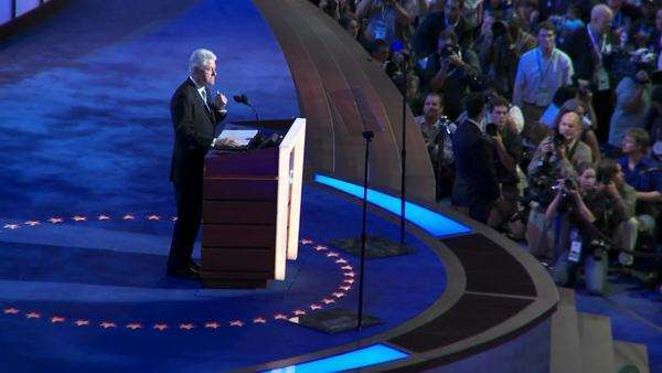 Bill Clinton gives delivers a pro Barack Obama speech at the 2008 Democratic National Convention in Denver Colorado. Royalty-free stock video
