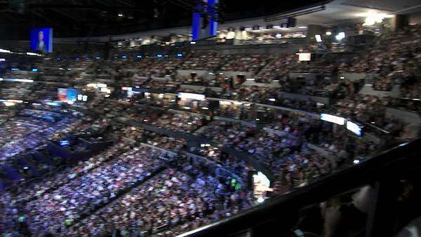 A pan of the interior of Pepsi Center in Denver, Colorado during former President Bill Clinton's speech at the 2008 Democratic National Convention. Royalty-free stock video