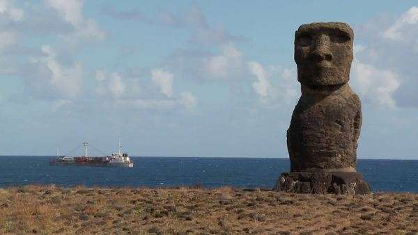 A ship off the coast of Easter Island. Royalty-free stock video