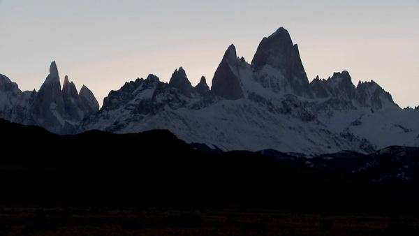 The remarkable mountain range of Fitzroy in Patagonia, Argentina at dusk. Royalty-free stock video