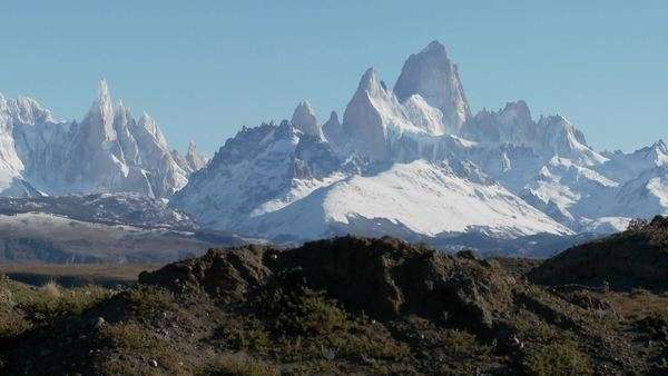 The remarkable mountain range of Fitzroy in Patagonia, Argentina. Royalty-free stock video