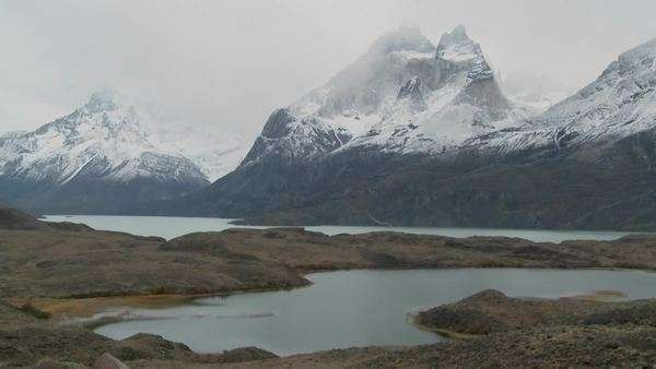 Marvelous peaks tower over alpine lakes in Patagonia, Argentina. Royalty-free stock video