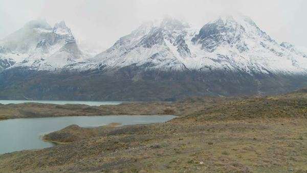 Pan across lakes and peaks in Patagonia, Argentina. Royalty-free stock video