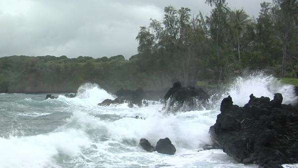 A large Pacific storm batters Hawaii with large waves. Royalty-free stock video