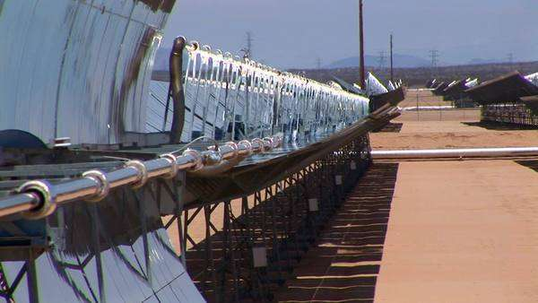 Banks of solar panels reflect in the hot sun. Royalty-free stock video