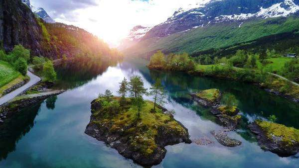 Aerial footage of beautiful Norway: Mountain and river landscape Royalty-free stock video