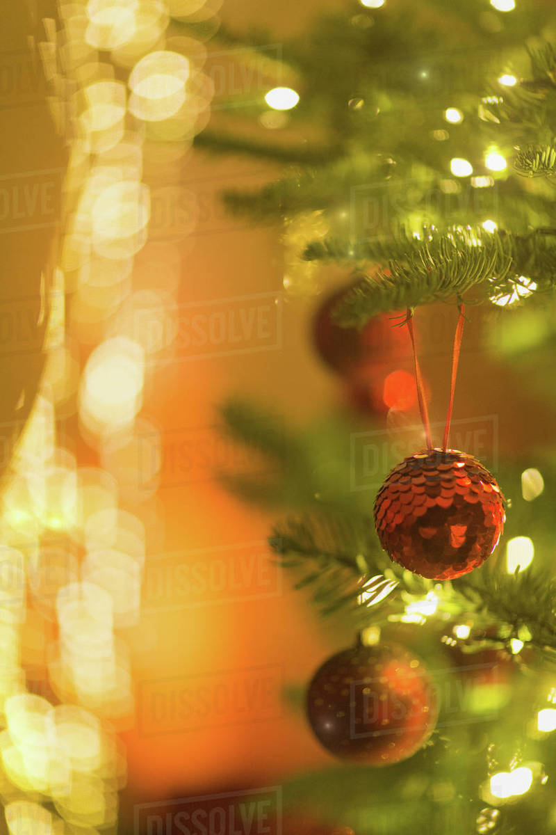 Red Glitter Ornaments Hanging From Christmas Tree With String Lights Stock Photo