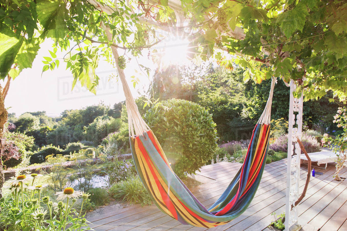Multicolor Hammock Hanging From Trees In Tranquil Sunny Summer