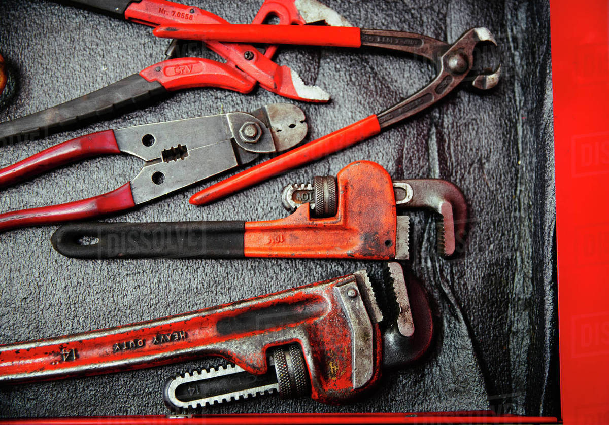 Red wrenches and pliers Royalty-free stock photo