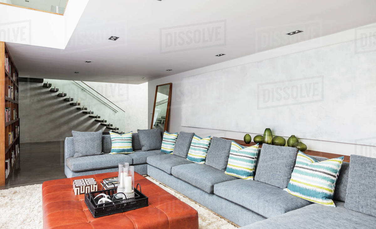 Home showcase interior living room with long sectional sofa D1007_9_050