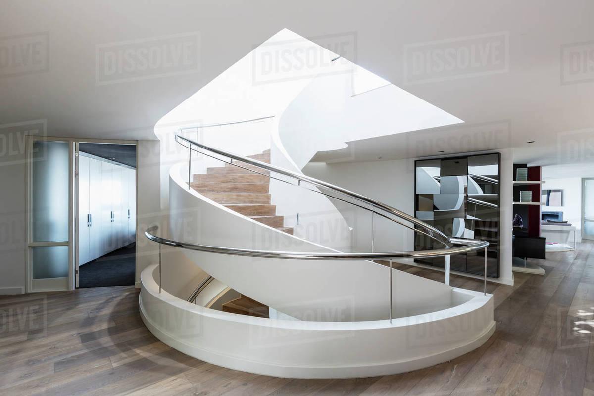 Modern Spiral Staircase In Home Showcase Interior