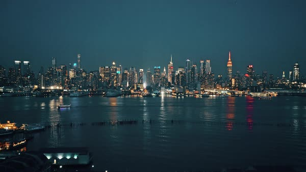 New York City skyline at night from New Jersey Royalty-free stock video