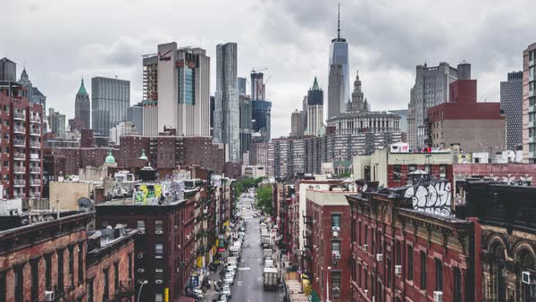Chinatown | New York City | 4K Timelapse Sequence of Chinatown shot from Manhattan Bridge. Royalty-free stock video