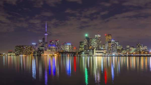 The skyline of Toronto at night Royalty-free stock video