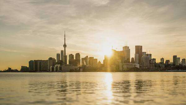 Sunset in Toronto from Polson Pier Street Royalty-free stock video