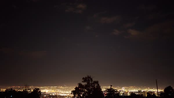 Wide shot of a cityscape at night Royalty-free stock video