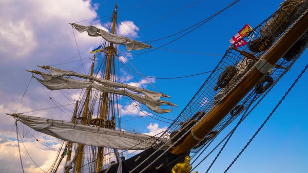 Clouds over the masts of sailing ship. Timelapse. Royalty-free stock video