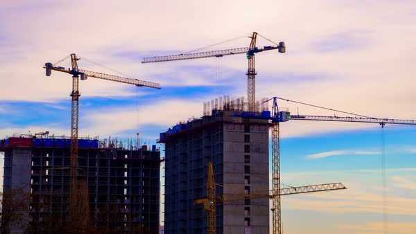 Crane working in construction site Royalty-free stock video
