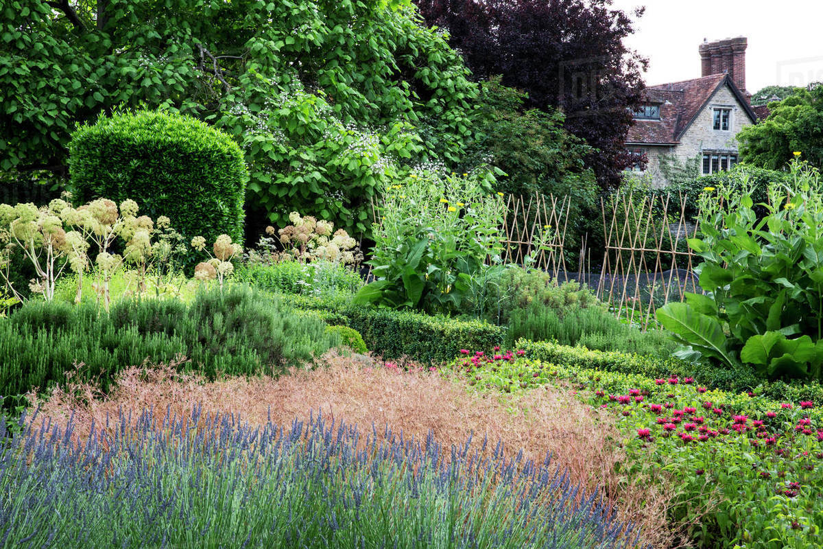 Awe Inspiring Walled Garden With Flowerbeds Shrubs And Trees Historic Manor House In The Background Stock Photo Download Free Architecture Designs Rallybritishbridgeorg