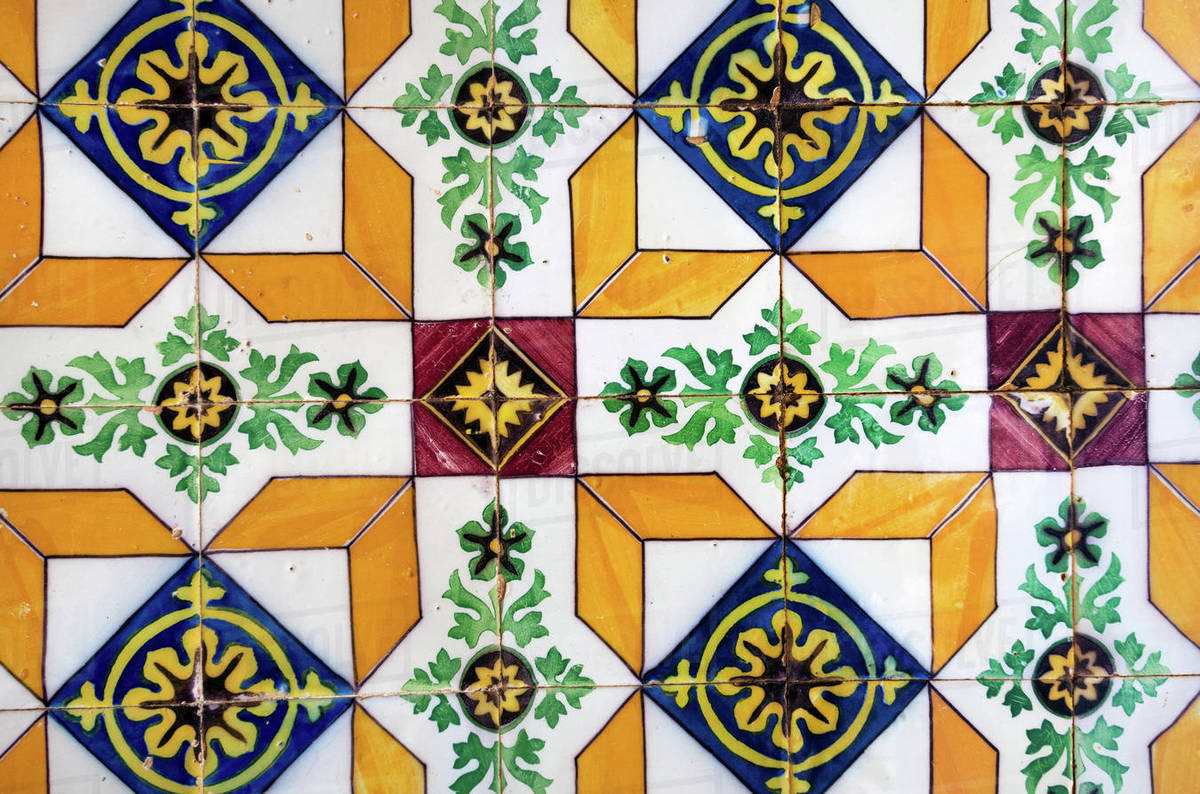 Vintage patterned tiles, Algarve, Portugal Royalty-free stock photo
