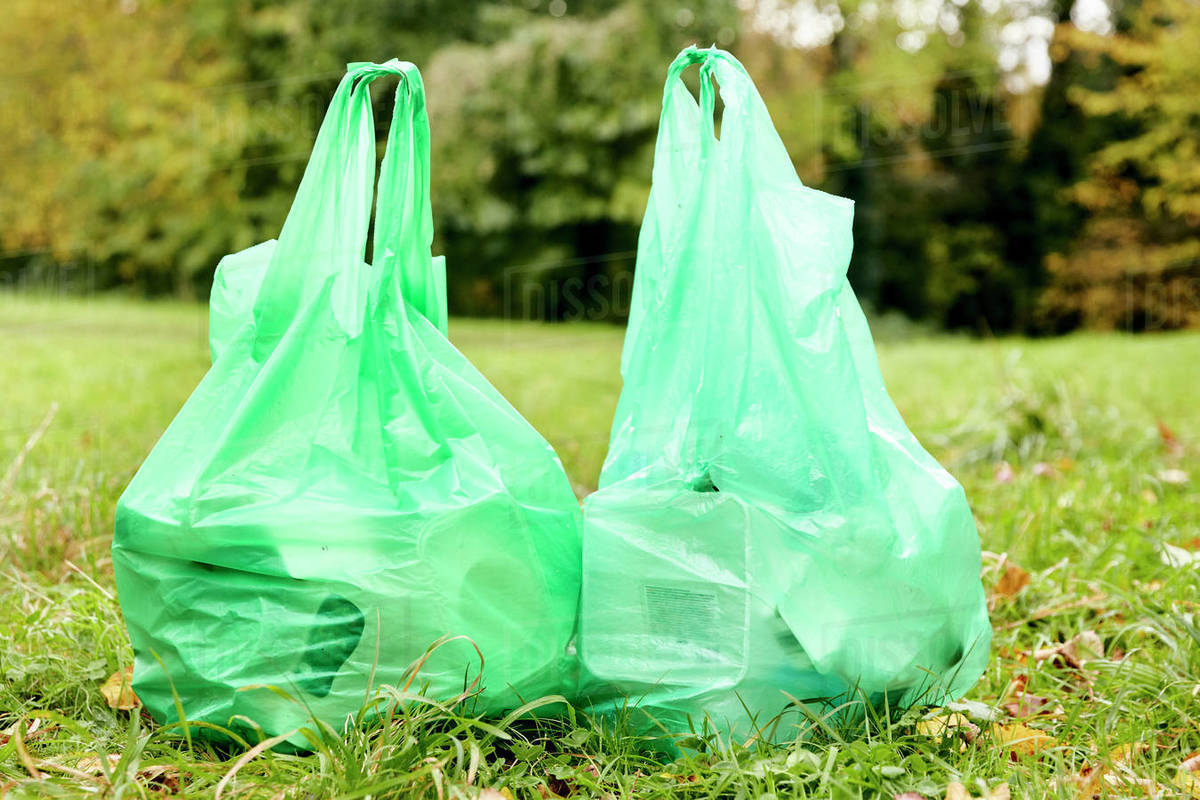 Two full plastic bags sitting side by side on the grass filled with rubbish for recycling Royalty-free stock photo