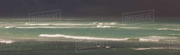 View across the Southern Ocean from Cape Agulhas in South Africa. Waves and stormy seas.  Royalty-free stock photo