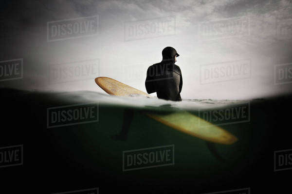Surfer on Surfboard, Anticipating Wave Royalty-free stock photo