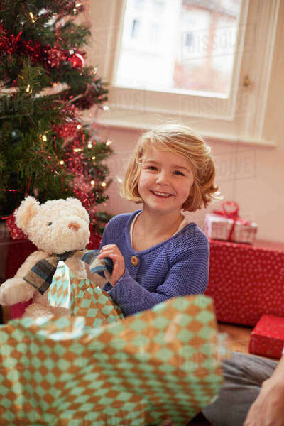 A girl unwrapping a soft toy, a teddy bear, on Christmas Day.  Royalty-free stock photo