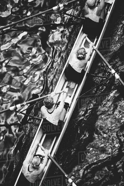 Overhead view of a female rowing crew in their racing shell, rowing boat.  Royalty-free stock photo