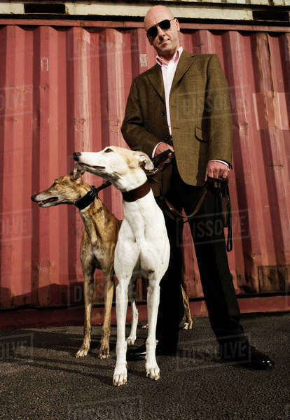 Man wearing a suit standing in front of a red shipping container, holding a white and a brindle greyhound on leads. Royalty-free stock photo