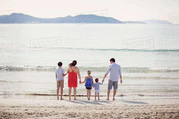 Rear view of man, woman and four children standing on a sandy beach by the ocean, holding hands. Royalty-free stock photo