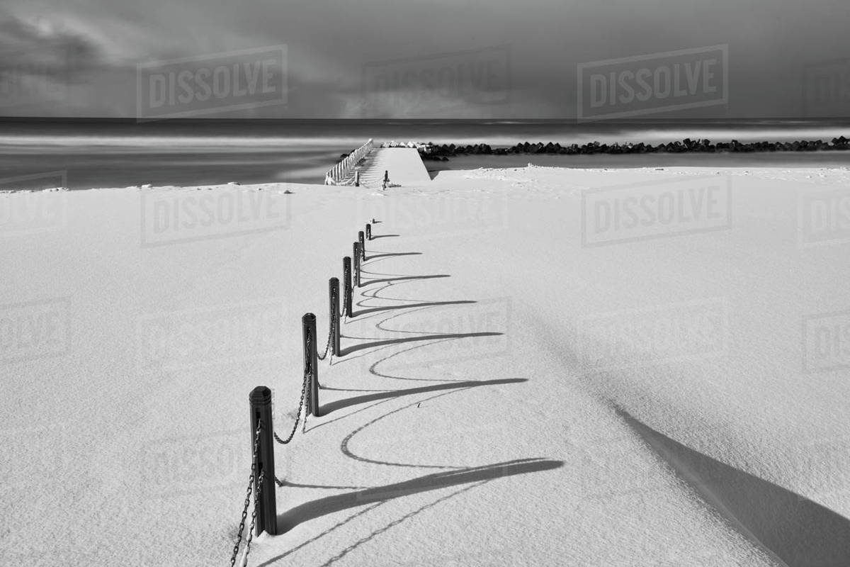 Running Along A Snow Covered Beach Near
