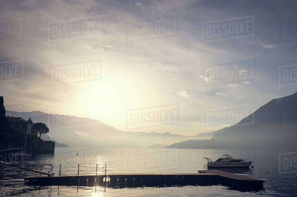Lake Como at sunset in Italy Royalty-free stock photo