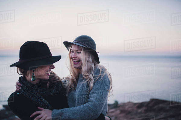 Young women having fun on a coast Royalty-free stock photo