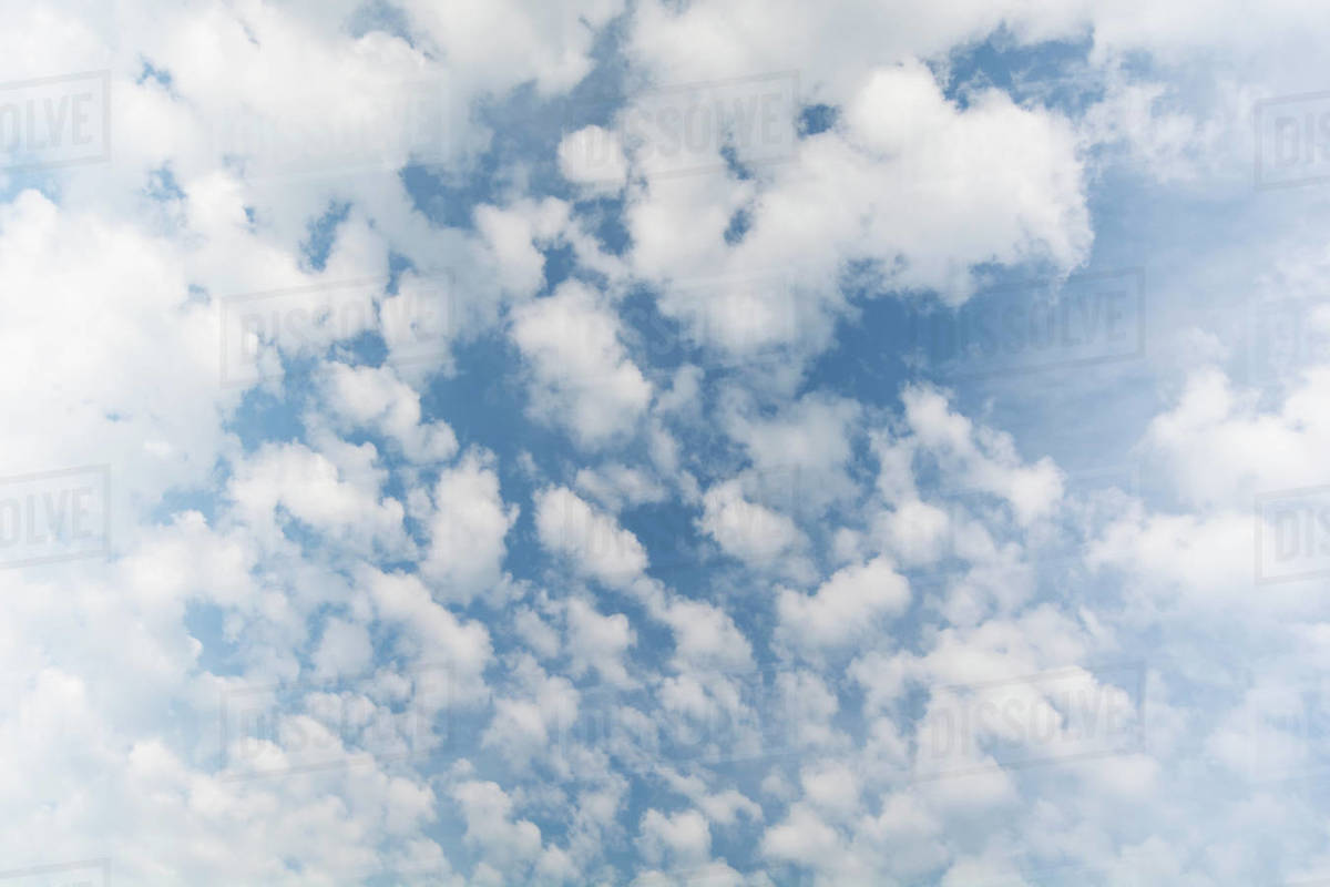 white cumulus clouds on blue sky stock photo dissolve