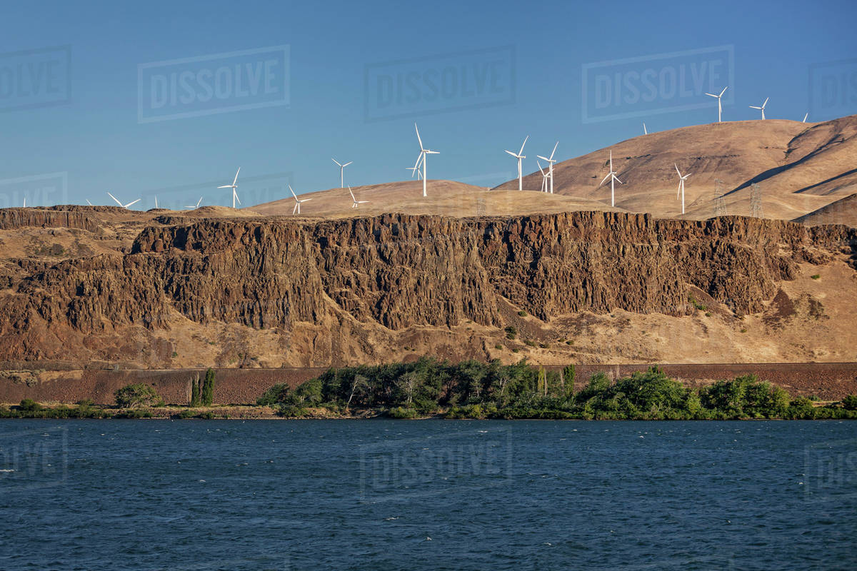 Wind turbines on cliff, Columbia River Royalty-free stock photo