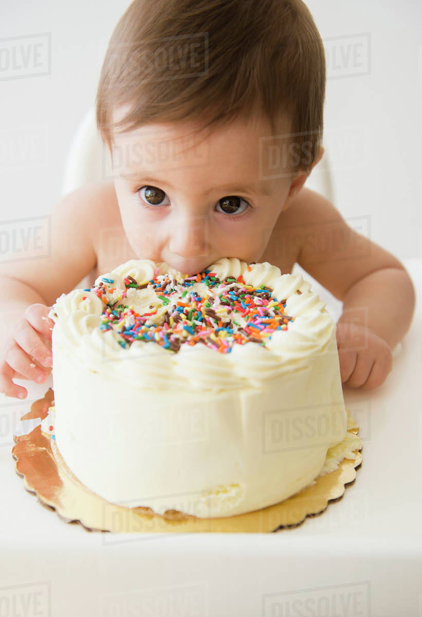 Astounding Baby Girl 12 17 Months Eating Birthday Cake Stock Photo Dissolve Personalised Birthday Cards Paralily Jamesorg