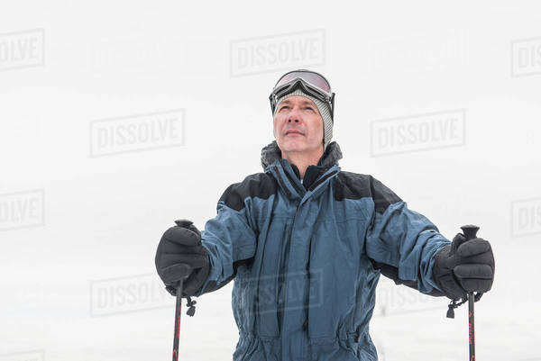 Portrait of mature male skier Royalty-free stock photo