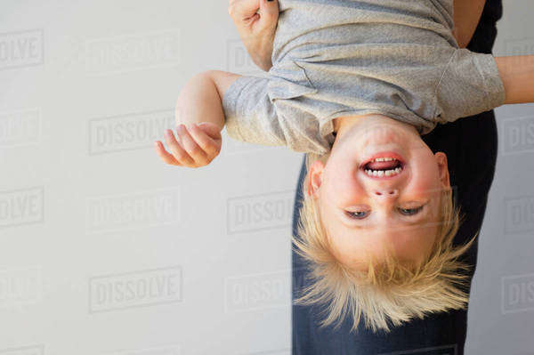 Portrait of boy (2-3) upside down Royalty-free stock photo