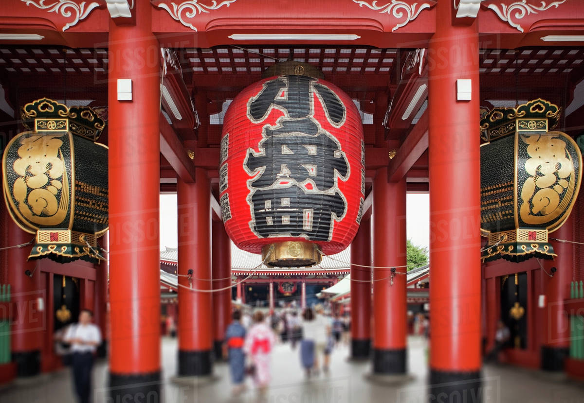 Japan, Tokyo, Asakusa, Senso-Ji Temple, focus on paper lanterns stock photo