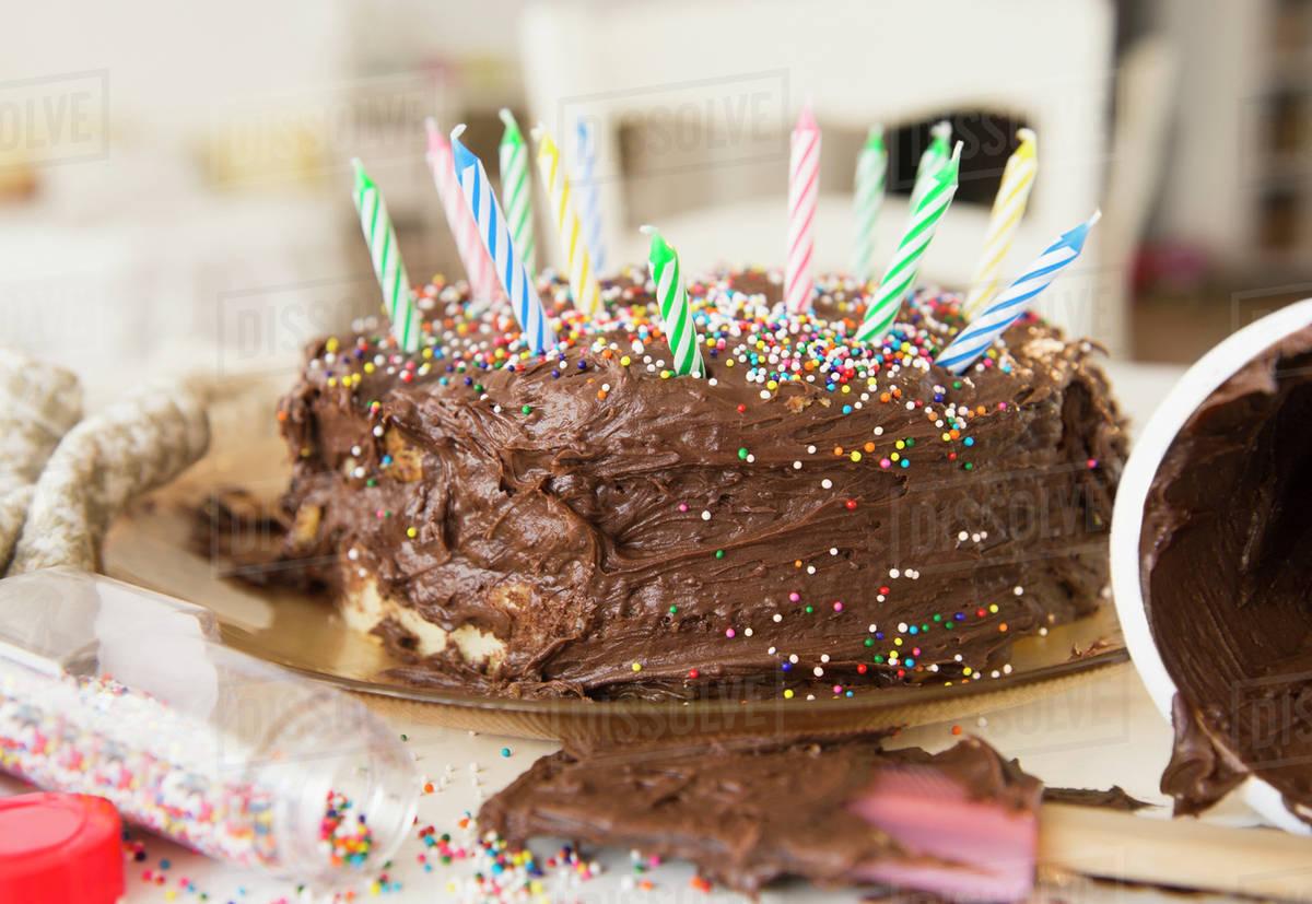 Wondrous Studio Shot Of Chocolate Birthday Cake Stock Photo Dissolve Birthday Cards Printable Trancafe Filternl