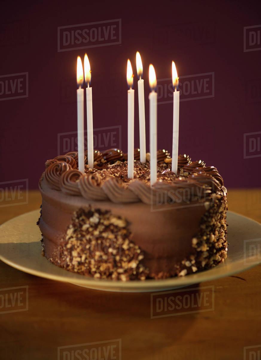 Marvelous Studio Shot Of Chocolate Birthday Cake Stock Photo Dissolve Birthday Cards Printable Trancafe Filternl
