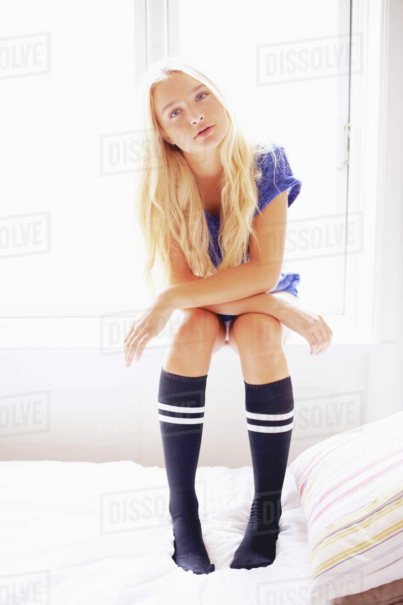 Portrait Of Teen 16 17 Girl Wearing Knee High Socks