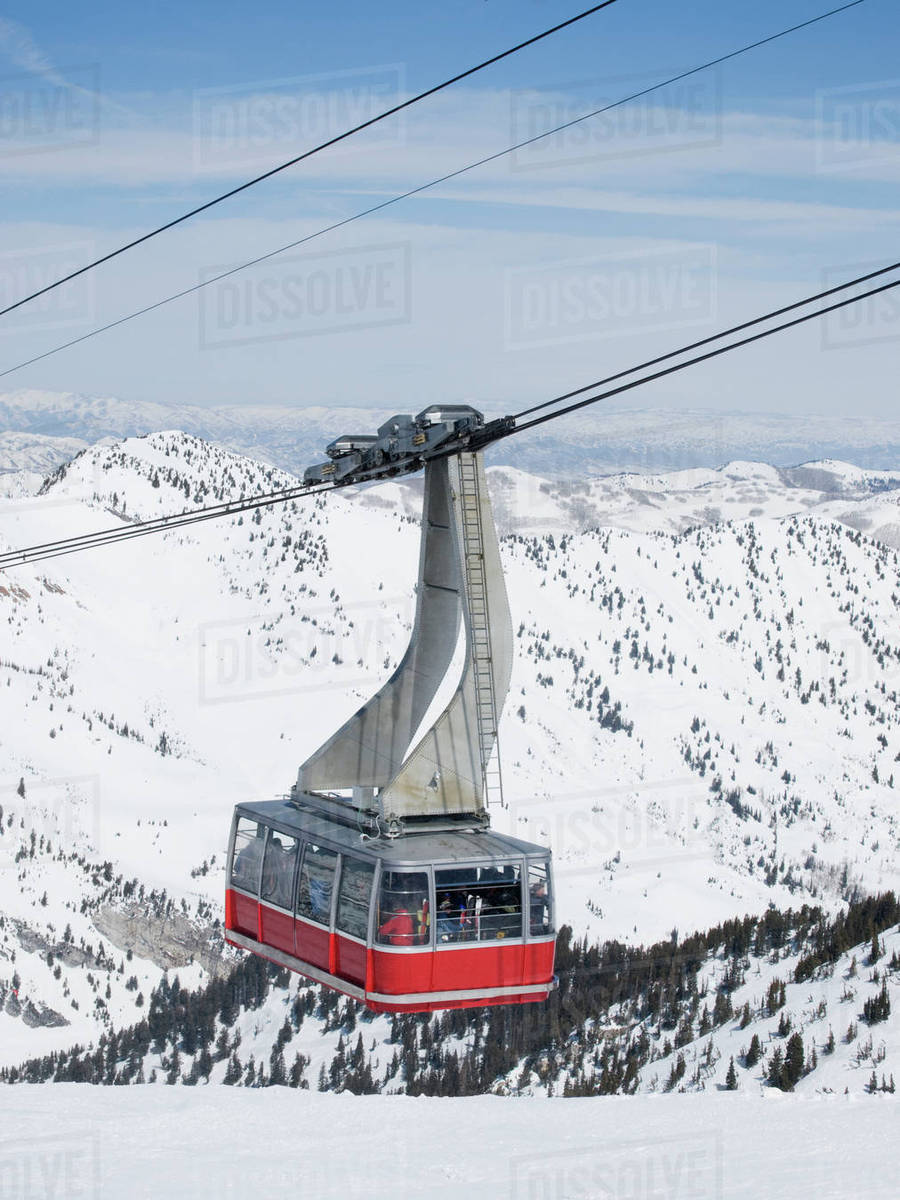 tram on mountain, snowbird ski resort, wasatch mountains, utah