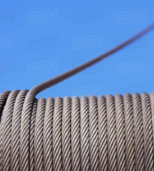 Close up of cable on winch Royalty-free stock photo