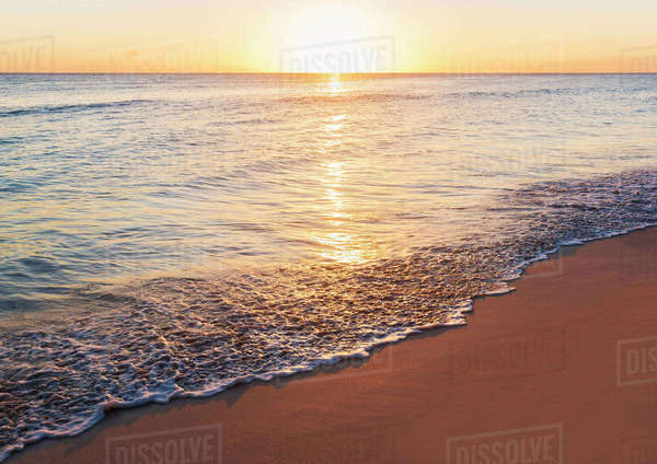 Romantic sunset over sea Royalty-free stock photo