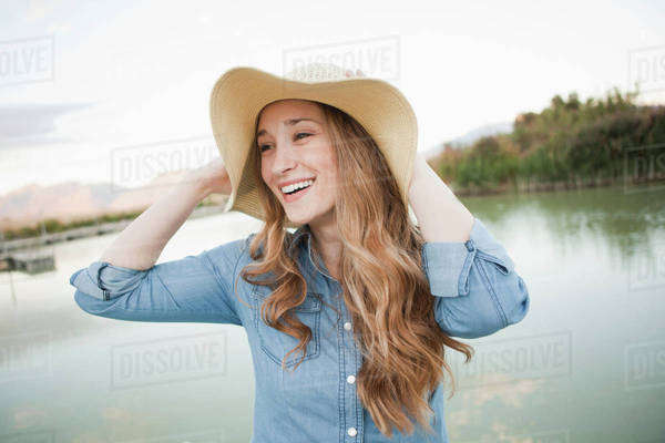 Portrait of young woman wearing hat Royalty-free stock photo