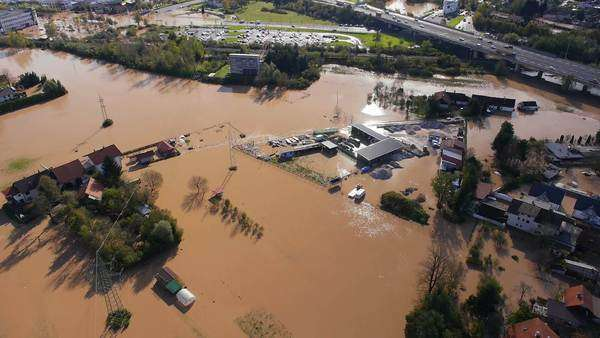 Aerial - Environmental damage by flooding. Natural disaster Royalty-free stock video