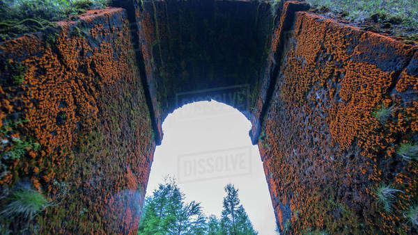 Low angle view of an orange mossy bridge in the Sao Miguel Island in Azores, Portugal Royalty-free stock photo